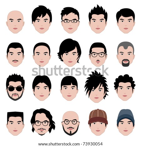 Man Men Male Human Face Head Hair Hairstyle Mustache Bald People Fashion - stock vector