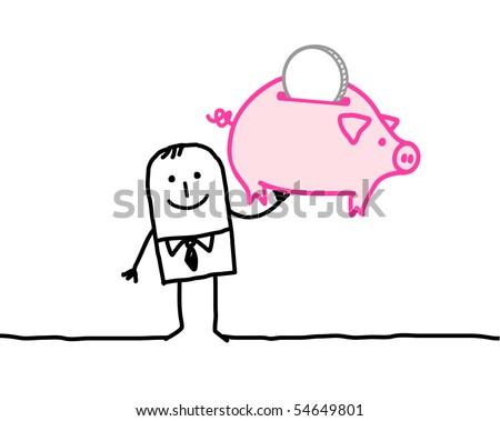 man & moneybox - stock vector