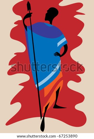 Man of the Masai in national dress with a spear in his  hand - stock vector
