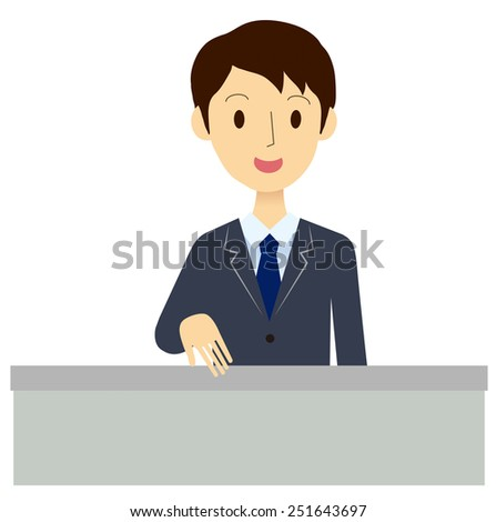 Man of the reception desk - stock vector