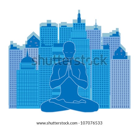 man of yoga meditating on urban background in blue color - stock vector