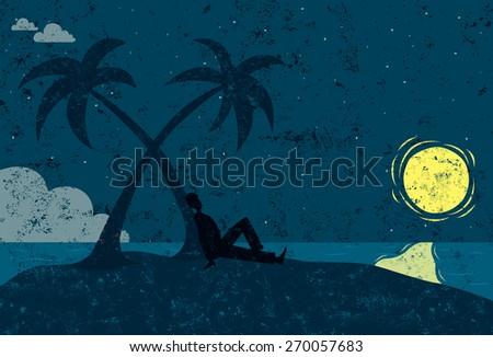 Man on an island - stock vector