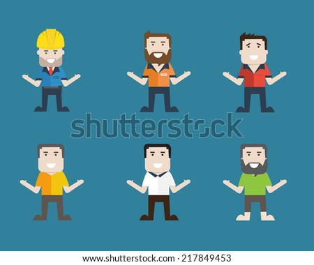 man on 6 character  engineer technical human - stock vector
