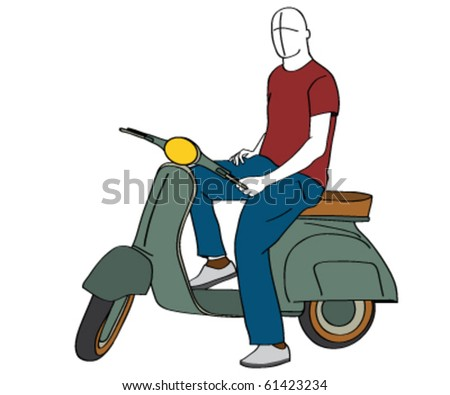 man on scooter silhouette - vector illustration - stock vector