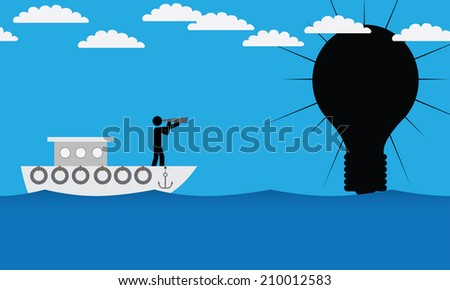 Man on ship is searching for idea. It is a stick figure vector. EPS10  - stock vector