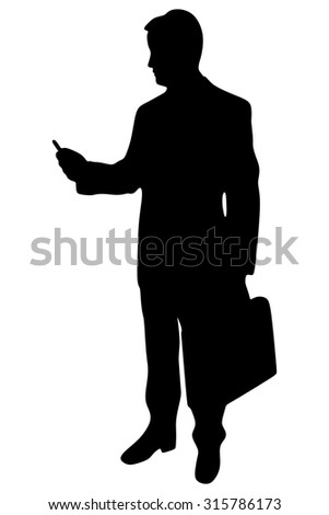 Man on smart phone - young business man - stock vector