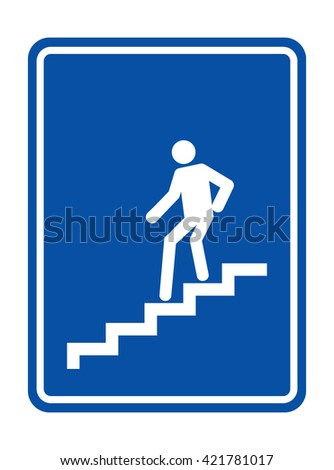 Man on Stairs going down symbol - stock vector
