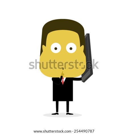 Man on the Phone ( quiet ) - stock vector