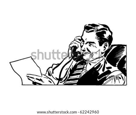 Man On The Phone - Retro Clipart Illustration - stock vector