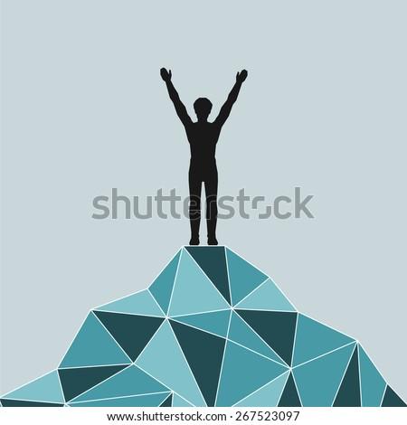 Man on top of mountain. Conceptual design. - stock vector