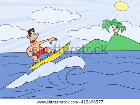 Man on vocation is surfing 2 - stock vector