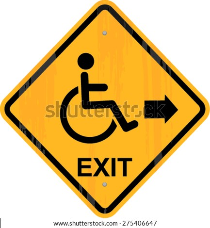 Man on wheelchair, disabled, emergency exit icon - stock vector
