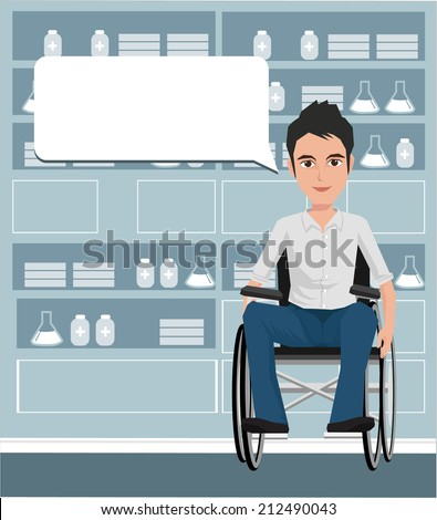man on wheelchair providing information with a smile on a speech bubble background. Vector illustration on the background of hospital ward.  - stock vector