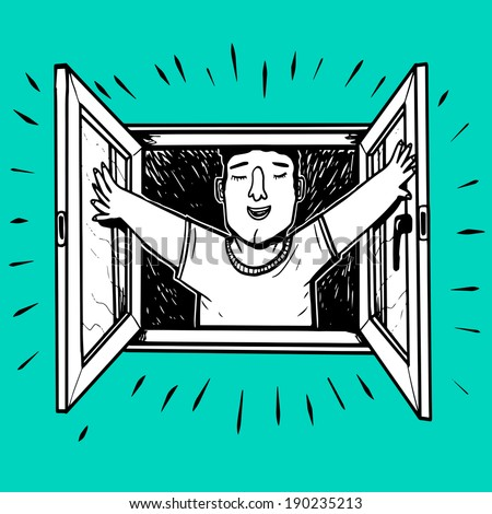 man open window - stock vector
