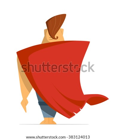 Man or hero with super red cloak cape. Back view. Isolated on white background - stock vector