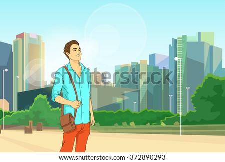 Man Over Modern City Cityscape Background Vector Illustration - stock vector
