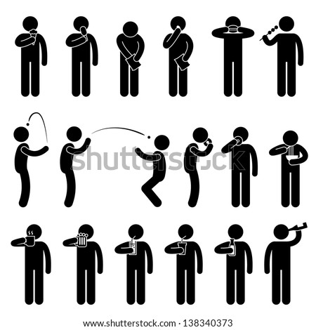 Man People Eating Tasting Food and Drink Stick Figure Pictogram Icon - stock vector