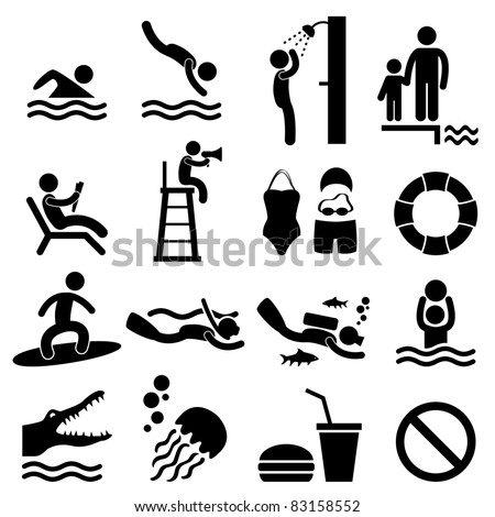 Man People Swimming Pool Sea Beach Sign Symbol Pictogram Icon - stock vector