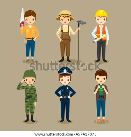 Man, People With Different Occupations Set, Profession, Avatar, Worker, Job, Duty - stock vector