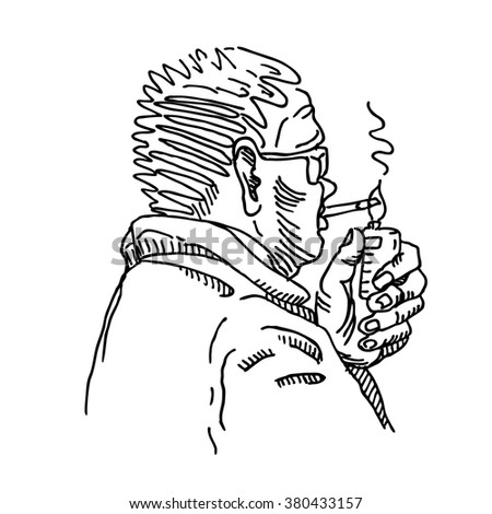 Man person portrait with nicotine cigarette and lighter in hand, line sketch drawing. For nicotine addiction danger design  - stock vector