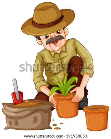 Man planting plant in the pot illustration - stock vector