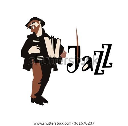 Man playing accordion isolated on white background. Jazz inscription. Flat vector illustration. Jazz symbol. Icon. - stock vector