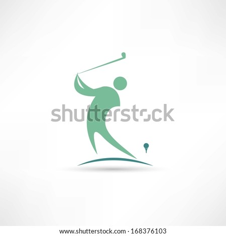 man playing golf icon - stock vector
