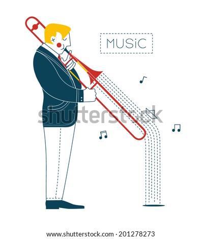 Man playing trombone - stock vector