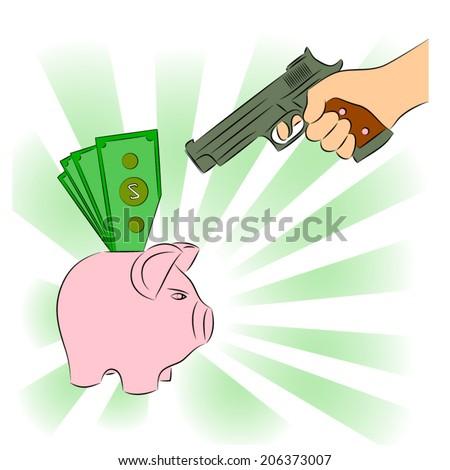 Man pointing a gun at a piggy bank - stock vector