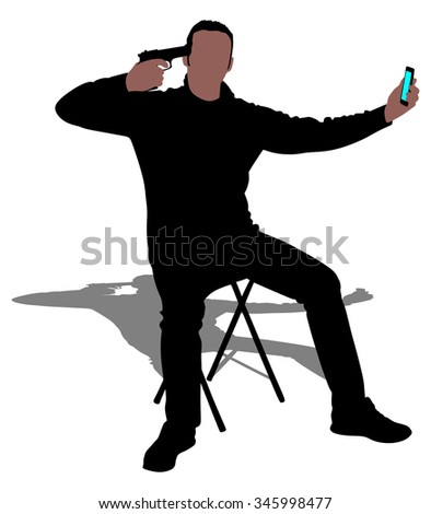 Man pointing a gun at his head, suicide concept, vector  - stock vector
