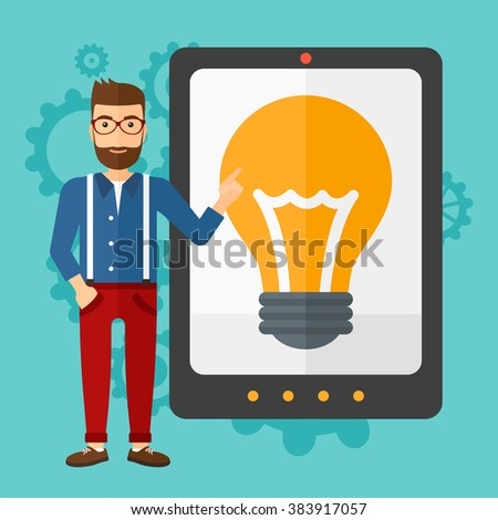 Man pointing at tablet computer with light bulb on screen. - stock vector