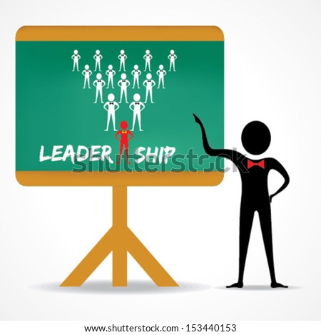 Man points to leadership concept on green board stock vector - stock vector