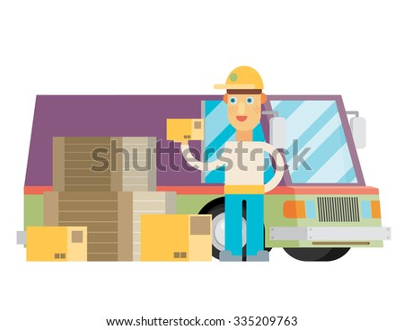 Man postal delivery courier man in front of cargo van delivering package. - stock vector