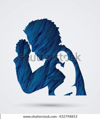 Man prayer designed using blue grunge brush graphic vector. - stock vector
