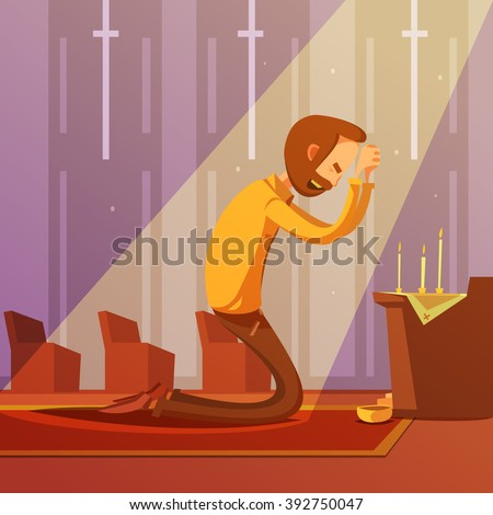 Man praying on his knees in a christian church with candles cartoon vector illustration  - stock vector