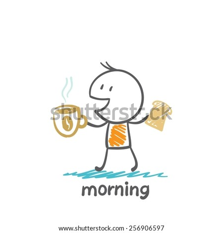 man prepares morning coffee and toast illustration - stock vector