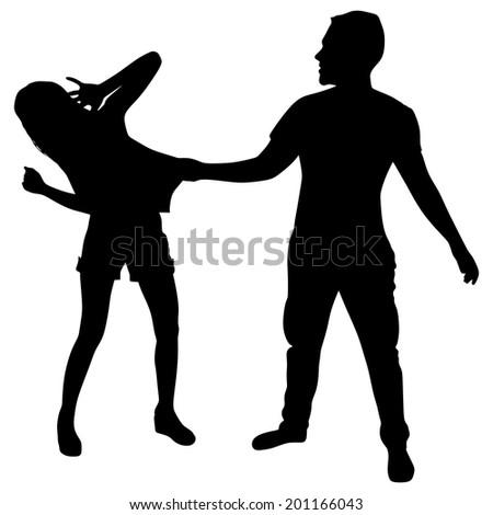 man pulling his girlfriend's shirt, vector - stock vector