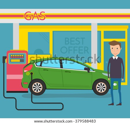 Man pumping gasoline fuel in car at gas station - stock vector