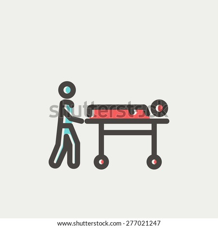 Man pushing the stretcher with sick person icon thin line for web and mobile, modern minimalistic flat design. Vector icon with dark grey outline and offset colour on light grey background. - stock vector