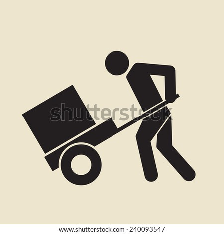 man pushing wheelbarrow sign - stock vector