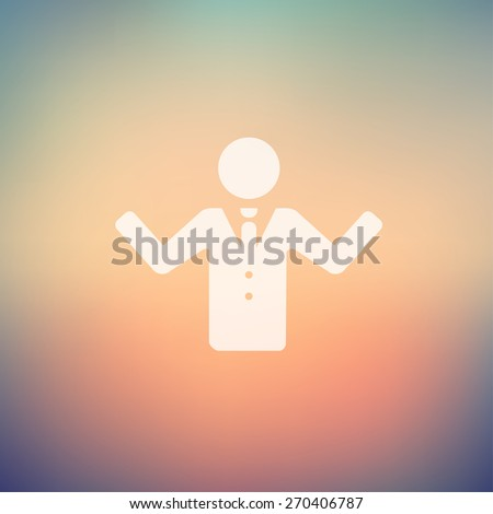 Man raising hand icon in flat style for web and mobile, modern minimalistic flat design. Vector white icon on gradient mesh background - stock vector