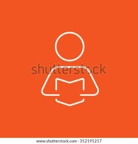 Man reading a book line icon for web, mobile and infographics. Vector white icon isolated on red background. - stock vector
