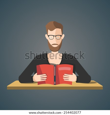 man reading a book. vector illustration - stock vector