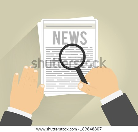 Man reading a newspaper with magnifying glass - stock vector
