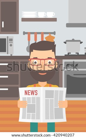 Man reading newspaper. - stock vector