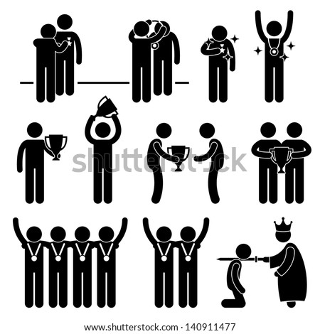 Man Receiving Award Trophy Medal Reward Prize Knighted Honour Honor Ceremony Event Stick Figure Pictogram Icon - stock vector