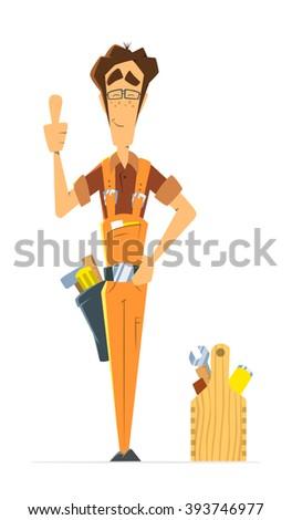Man repairman locksmith handyman or worker serviceman. Color vector illustration. - stock vector