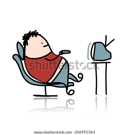 Man rest at armchair and watching tv, vector illustration - stock vector