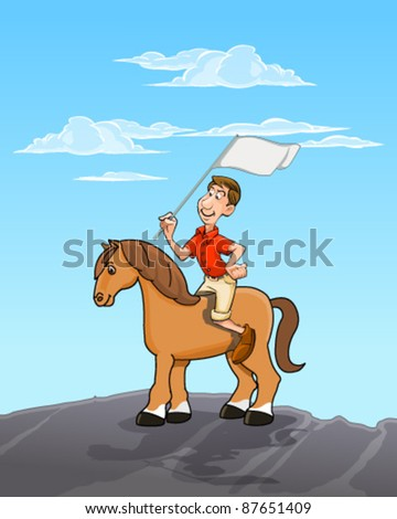 Man riding horse - stock vector