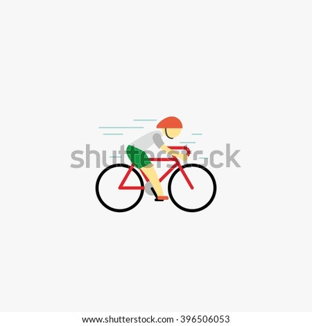 Man riding sport bike and cycling sign. Flat style vector illustrations isolated design template on white. - stock vector